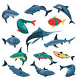 set fish icons in flat style vector image