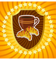 Shield with coffee and croissants vector image vector image