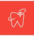 Shining tooth line icon vector image vector image