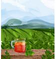tea landscape watercolor green fields vector image vector image