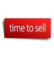 time to sell red paper sign on white background vector image vector image