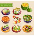 Vegetarian dishes set vector image