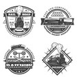 vintage monochrome retro train emblems set vector image vector image