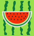 watermelon slice sticker icon dash line cut half vector image vector image