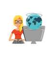 woman with desktop computer and planet earth vector image vector image