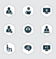 work icons set with remove from team add to team vector image vector image
