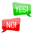 yes and no signs green and red speech bubbles vector image