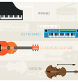 Music Instruments Objects Banner Background vector image