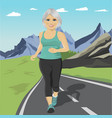 senior woman running or sprinting on road vector image