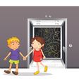 A girl and a boy holding hands near the elevator vector image vector image