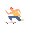 active teenager boy riding on skateboard vector image