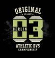 athletic sport berlin typography vector image vector image
