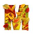 autumn stylized alphabet letter m vector image vector image