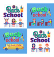 back to school poster with stationary and pupils vector image vector image