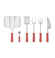 bbq barbecue flatware icons vector image