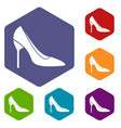 bride shoes icons set vector image