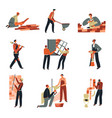 builders on building site construction works vector image