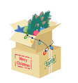 Cardboard box with Christmas decorations vector image vector image