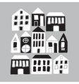 Cartoon black and white houses vector image