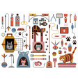 cat accessories and pet supplies icon set vector image vector image