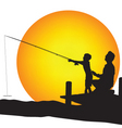 Child and man silhouettes fishing vector | Price: 1 Credit (USD $1)