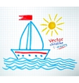 Childlike drawing of ship vector image vector image
