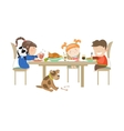 children eating on a white vector image vector image