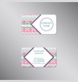 creative business card with geometric ornament vector image