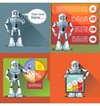 Digital silver happy robot presenting vector image vector image