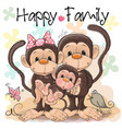 family of three cute monkeys vector image vector image