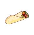 fast food roll shawarma taco vector image vector image