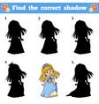 find correct shadow cartoon princess vector image vector image