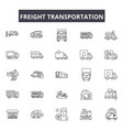 freight transportation line icons signs vector image vector image