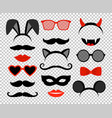 funny masks masquerade mask set glasses and vector image vector image