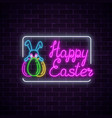 glowing neon sign of easter bunny with eggs and vector image vector image