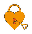 heart padlock draw vector image vector image