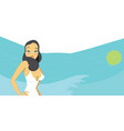 hot brunette woman in white swimsuit vector image vector image