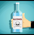 human hand holding a bottle alcohol vector image vector image