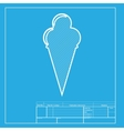Ice Cream sign White section of icon on blueprint vector image vector image