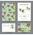 Invitation or Greeting Christmas Card Set vector image vector image