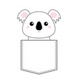 koala bear head face sitting in the pocket doodle vector image vector image