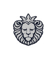 lion logo lion head with crown vector image vector image
