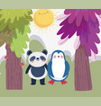 little panda and penguin cartoon character forest vector image