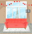 living room red sofa watercolor couch and vector image vector image