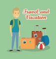 man traveler with suitcases characters vector image