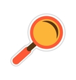 paper sticker on white background magnifying glass vector image vector image