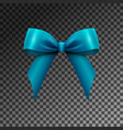 realistic shiny blue satin bow isolated vector image