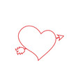 red outline heart pierced with arrow on white vector image