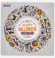 round frame halloween cartoon objects symbols vector image vector image