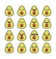 set fun kawaii avocado fruit icon cartoons vector image